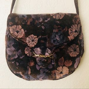 Vintage Velvet Floral Carpet Bag Purse
